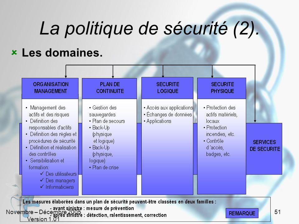 Novembre – Décembre 2005 Version 1.01 50 La politique de sécurité ? Cest un dispositif global dont la mise en œuvre assure que linformation peut être