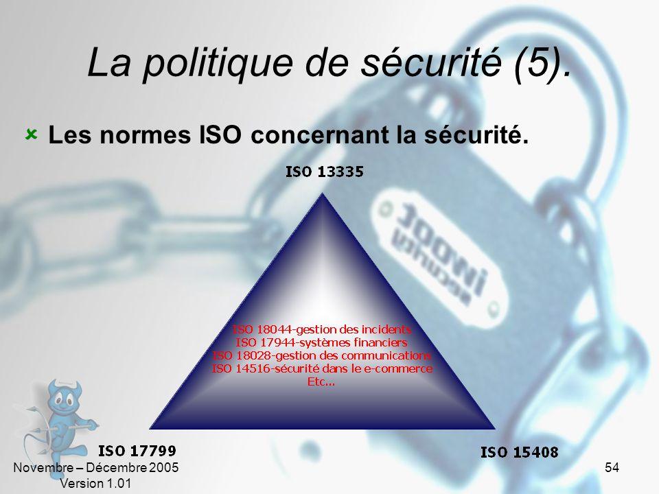 Novembre – Décembre 2005 Version 1.01 53 La politique de sécurité (4). Les différentes approches.