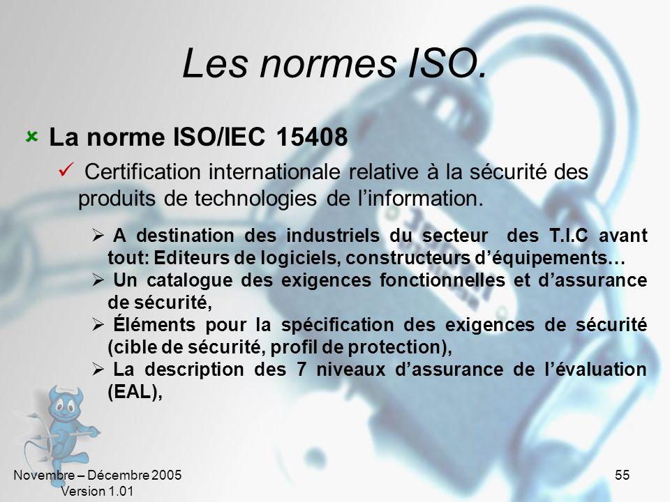 Novembre – Décembre 2005 Version 1.01 54 La politique de sécurité (5). Les normes ISO concernant la sécurité.
