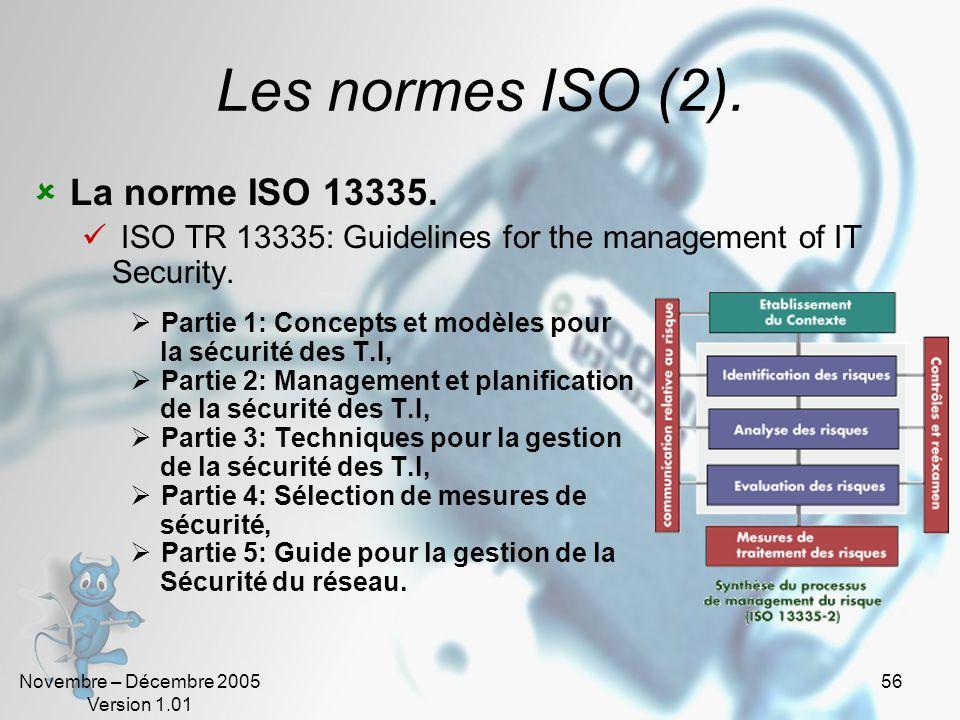 Novembre – Décembre 2005 Version 1.01 55 Les normes ISO. La norme ISO/IEC 15408 Certification internationale relative à la sécurité des produits de te
