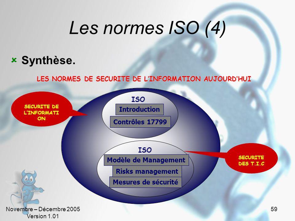 Novembre – Décembre 2005 Version 1.01 58 Les normes ISO (3) ISO 17799 Standard international basé sur les bonnes pratiques de la gestion de la sécurit