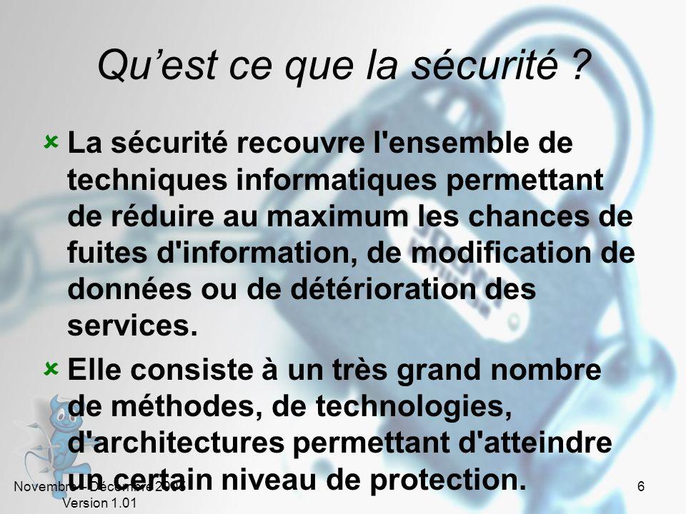 Novembre – Décembre 2005 Version 1.01 5 Sommaire - Introduction Introduction Quest ce que la sécurité ? Quoi protéger ? Pourquoi ? Contre qui ? Qui cr