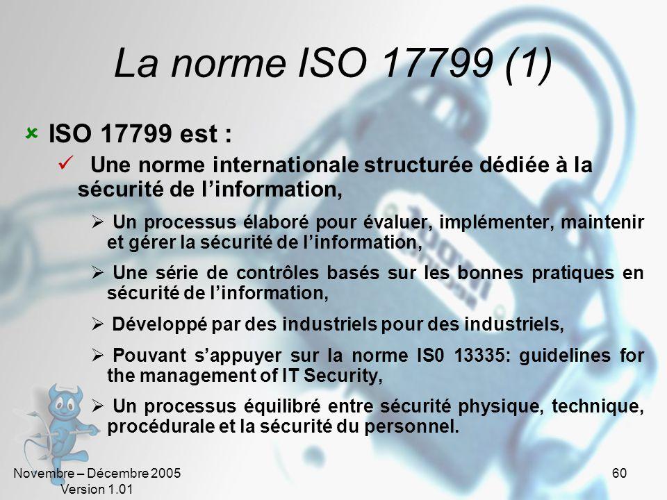 Novembre – Décembre 2005 Version 1.01 59 Les normes ISO (4) Synthèse. LES NORMES DE SECURITE DE LINFORMATION AUJOURDHUI ISO 17799 Introduction Contrôl