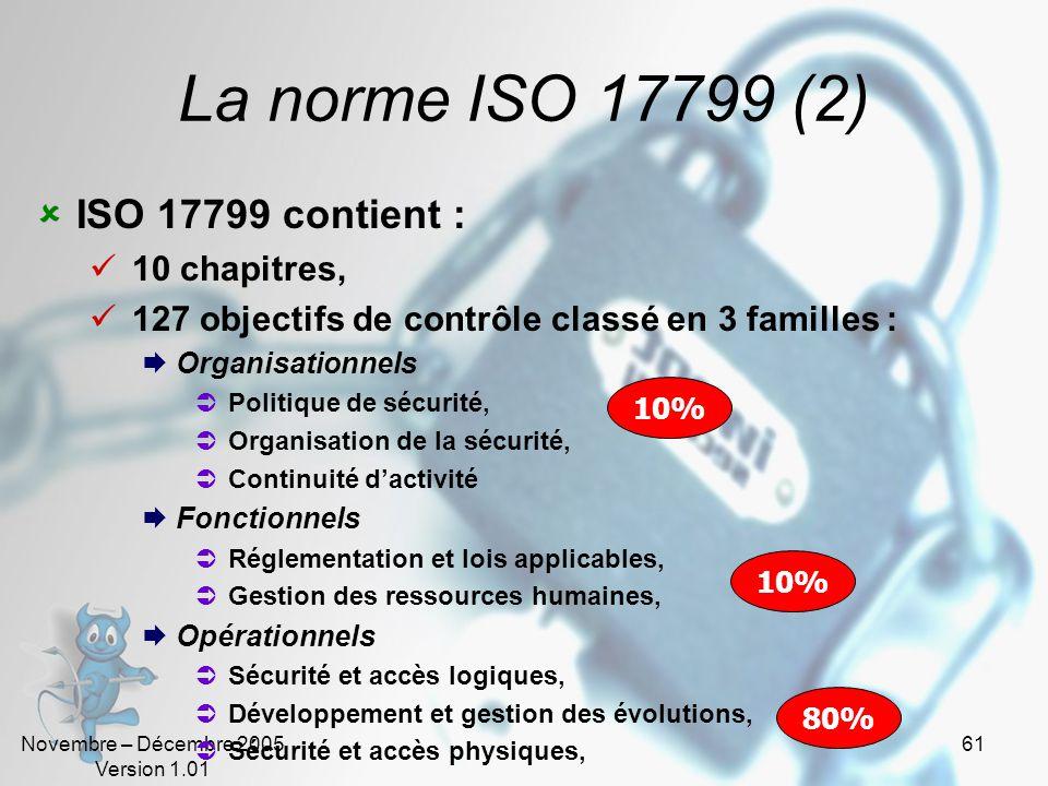 Novembre – Décembre 2005 Version 1.01 60 La norme ISO 17799 (1) ISO 17799 est : Une norme internationale structurée dédiée à la sécurité de linformati