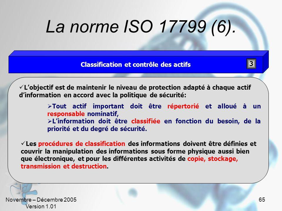 Novembre – Décembre 2005 Version 1.01 64 La norme ISO 17799 (5). Lobjectif est de: Gérer efficacement la sécurité de linformation dans lorganisation,