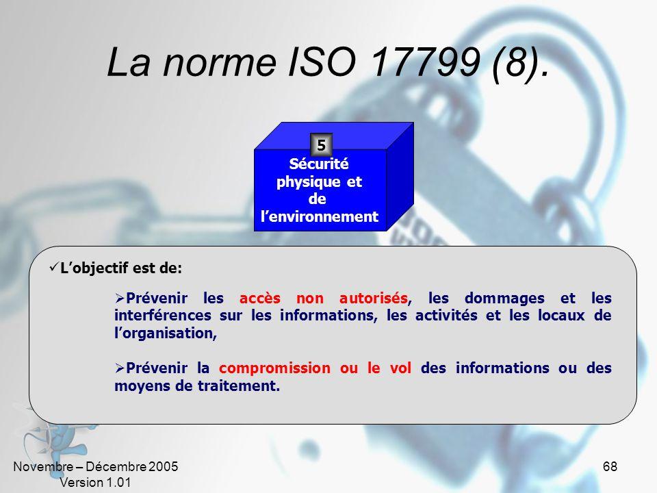 Novembre – Décembre 2005 Version 1.01 67 La norme ISO 17799 (8). Plus de 60% des incidents proviennent de lintérieur de lentreprise ! Sécurité liée au