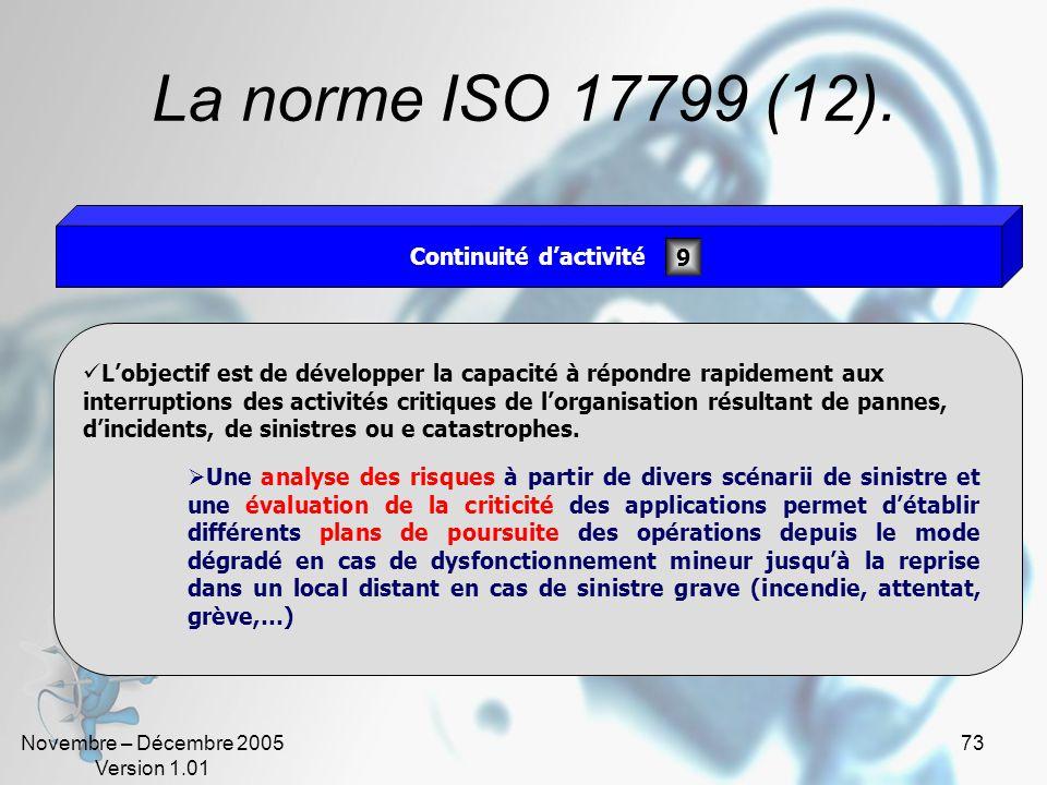 Novembre – Décembre 2005 Version 1.01 72 La norme ISO 17799 (11). Lobjectif est de: Assurer que la sécurité soit incluse dès la phase de conception, P