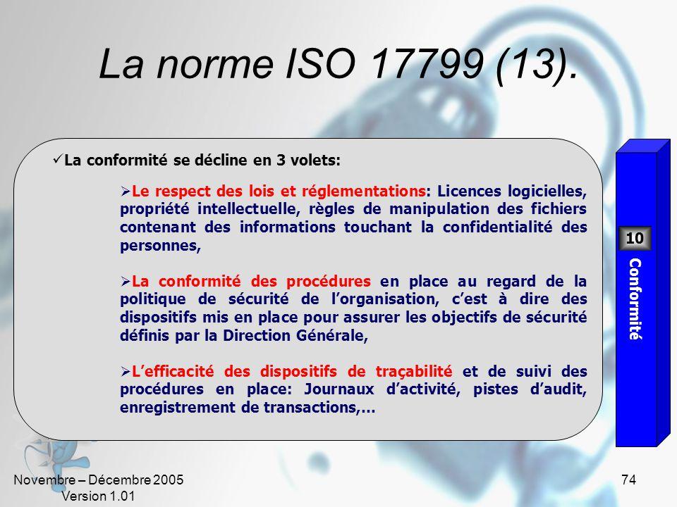 Novembre – Décembre 2005 Version 1.01 73 La norme ISO 17799 (12). Lobjectif est de développer la capacité à répondre rapidement aux interruptions des