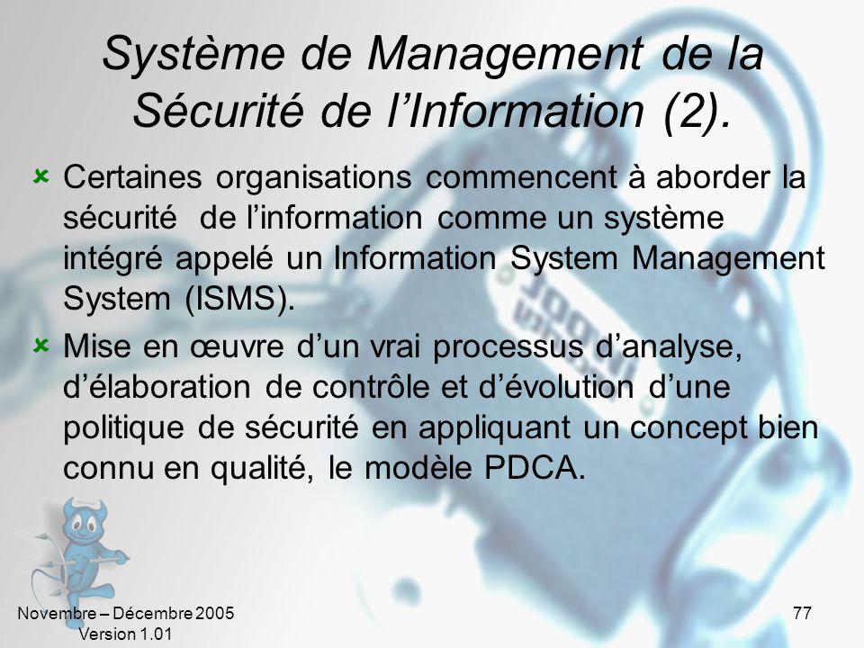 Novembre – Décembre 2005 Version 1.01 76 Système de Management de la Sécurité de lInformation. Management System : Système pour établir la politique e