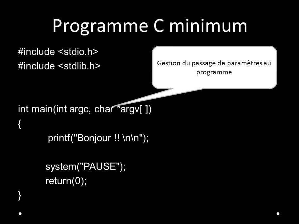 Programme C minimum #include int main(int argc, char *argv[ ]) { printf( Bonjour !.