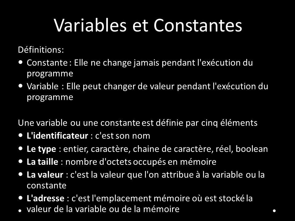 Variables et Constantes Définitions: Constante : Elle ne change jamais pendant l exécution du programme Variable : Elle peut changer de valeur pendant l exécution du programme Une variable ou une constante est définie par cinq éléments L identificateur : c est son nom Le type : entier, caractère, chaine de caractère, réel, boolean La taille : nombre d octets occupés en mémoire La valeur : c est la valeur que l on attribue à la variable ou la constante L adresse : c est l emplacement mémoire où est stocké la valeur de la variable ou de la mémoire