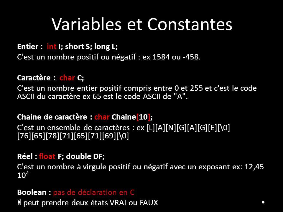 Variables et Constantes Entier : int I; short S; long L; C'est un nombre positif ou négatif : ex 1584 ou -458. Caractère : char C; C'est un nombre ent