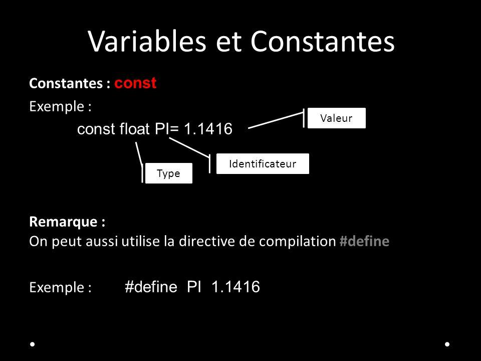 Variables et Constantes Constantes : const Exemple : const float PI= 1.1416 Remarque : On peut aussi utilise la directive de compilation #define Exemple : #define PI 1.1416 Identificateur Valeur Type