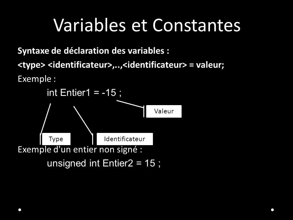 Variables et Constantes Syntaxe de déclaration des variables :,.., = valeur; Exemple : int Entier1 = -15 ; Exemple d un entier non signé : unsigned int Entier2 = 15 ; Identificateur Valeur Type