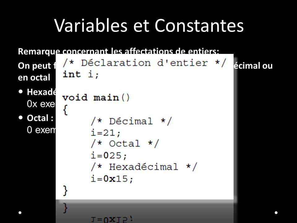 Variables et Constantes Remarque concernant les affectations de entiers: On peut forcer la base d'une valeur entière en hexadécimal ou en octal Hexadé