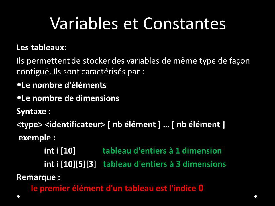 Variables et Constantes Les tableaux: Ils permettent de stocker des variables de même type de façon contiguë. Ils sont caractérisés par : Le nombre d'