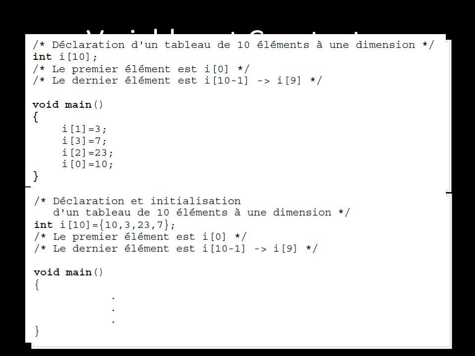 Variables et Constantes Les tableaux: Ils permettent de stocker des variables de même type de façon contiguë. Il sont caractérisés par : Le nombre d'é