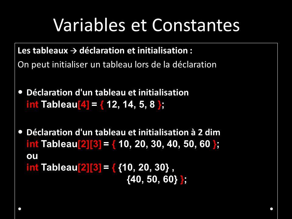 Variables et Constantes Les tableaux déclaration et initialisation : On peut initialiser un tableau lors de la déclaration Déclaration d un tableau et initialisation int Tableau[4] = { 12, 14, 5, 8 }; Déclaration d un tableau et initialisation à 2 dim int Tableau[2][3] = { 10, 20, 30, 40, 50, 60 }; ou int Tableau[2][3] = { {10, 20, 30}, {40, 50, 60} };