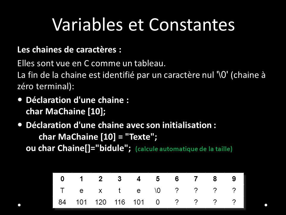 Variables et Constantes Les chaines de caractères : Elles sont vue en C comme un tableau. La fin de la chaine est identifié par un caractère nul '\0'