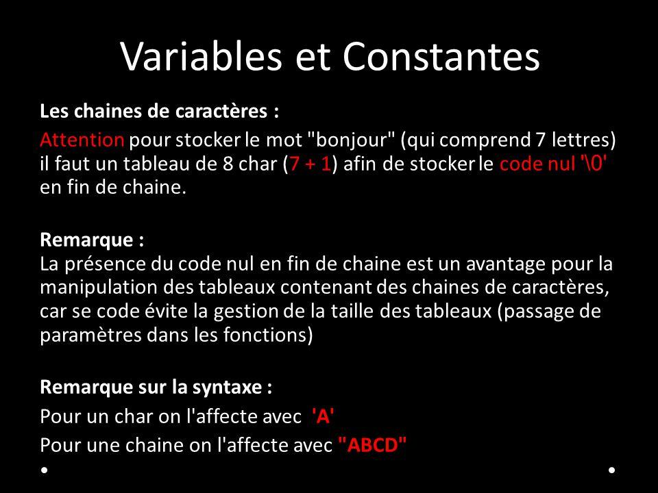 Variables et Constantes Les chaines de caractères : Attention pour stocker le mot
