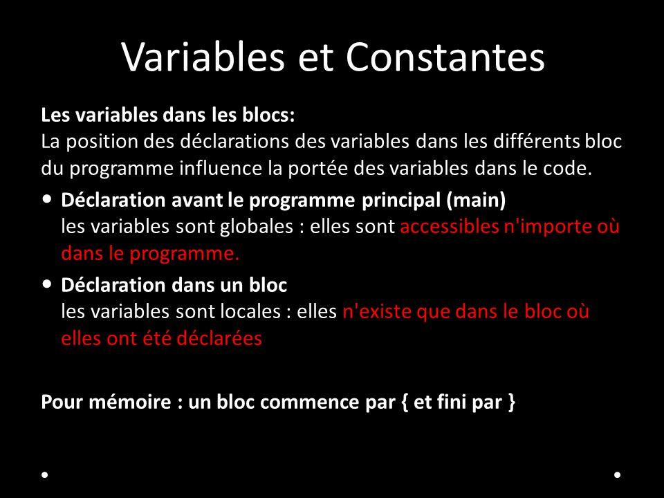 Variables et Constantes Les variables dans les blocs: La position des déclarations des variables dans les différents bloc du programme influence la portée des variables dans le code.