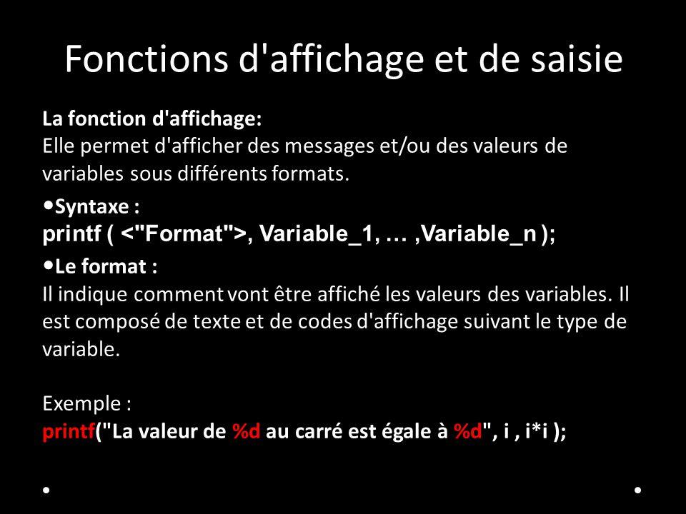 Fonctions d affichage et de saisie La fonction d affichage: Elle permet d afficher des messages et/ou des valeurs de variables sous différents formats.