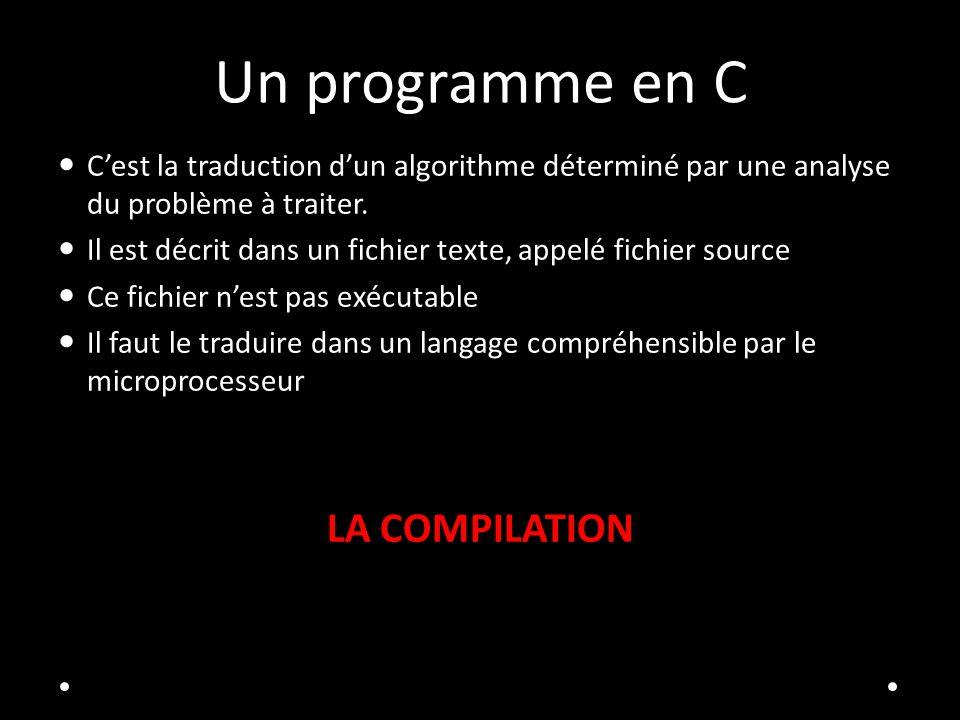 Un programme en C Cest la traduction dun algorithme déterminé par une analyse du problème à traiter. Il est décrit dans un fichier texte, appelé fichi