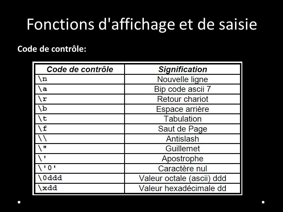 Fonctions d'affichage et de saisie Code de contrôle: