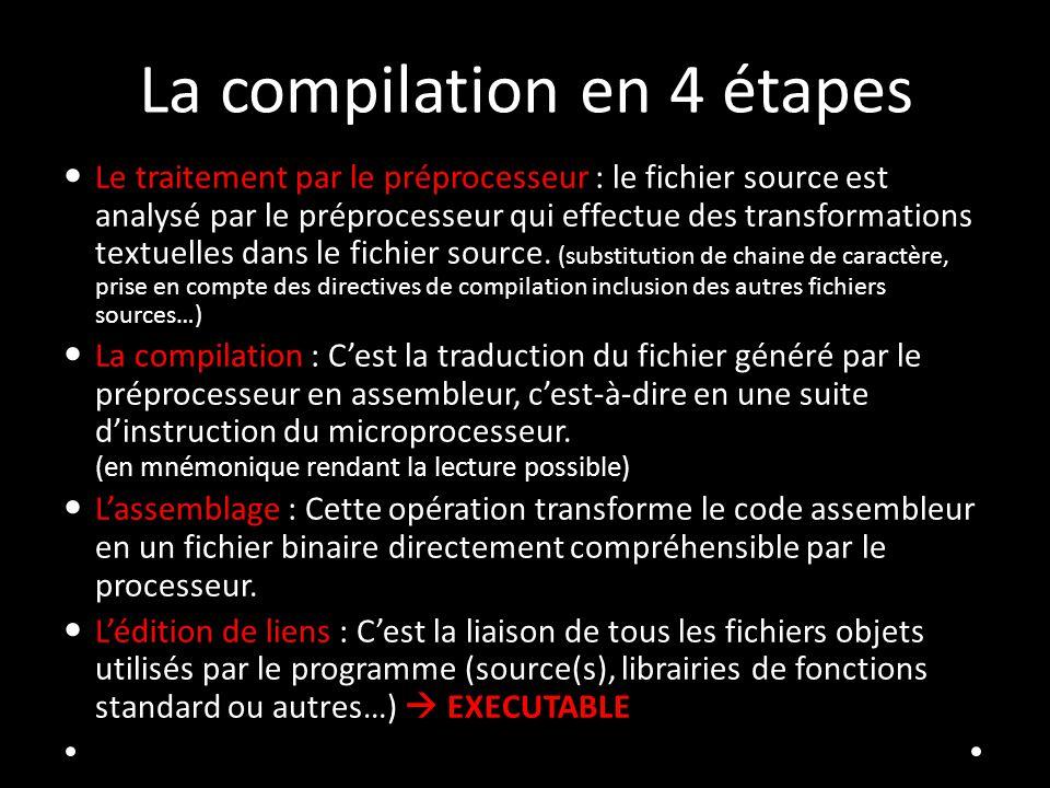 La compilation en 4 étapes Le traitement par le préprocesseur : le fichier source est analysé par le préprocesseur qui effectue des transformations te