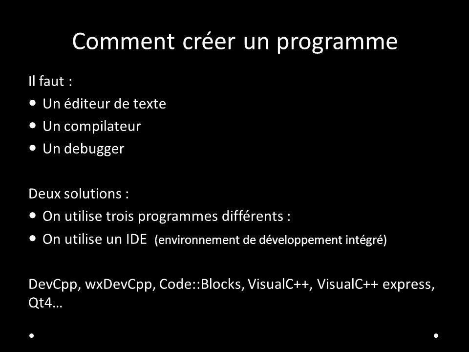 Comment créer un programme Il faut : Un éditeur de texte Un compilateur Un debugger Deux solutions : On utilise trois programmes différents : On utili