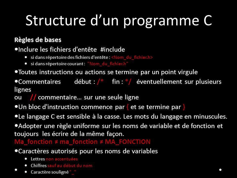 Structure dun programme C Règles de bases Inclure les fichiers d'entête #include si dans répertoire des fichiers d'entête : si dans répertoire courant