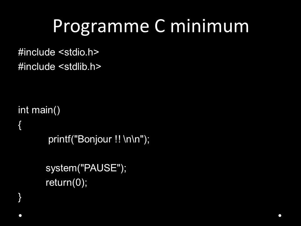 Programme C minimum #include int main() { printf(