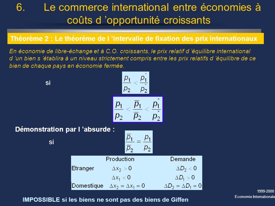 1999-2000 Economie Internationale 6. Le commerce international entre économies à coûts d opportunité croissants Théorème 2 : Le théorème de l interval