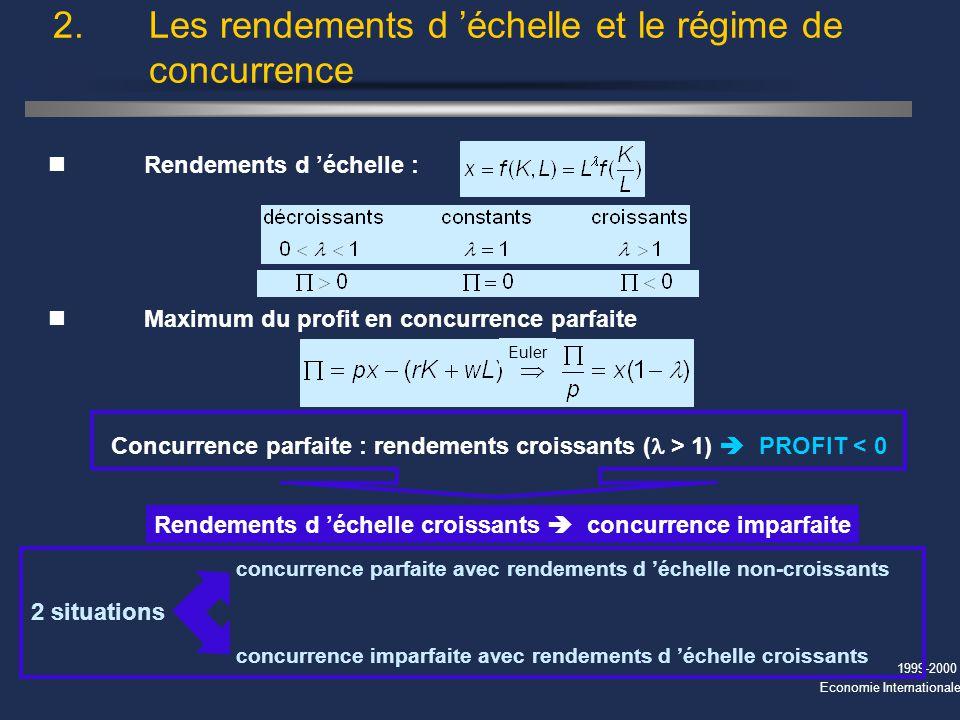 1999-2000 Economie Internationale 2. Les rendements d échelle et le régime de concurrence nRendements d échelle : nMaximum du profit en concurrence pa