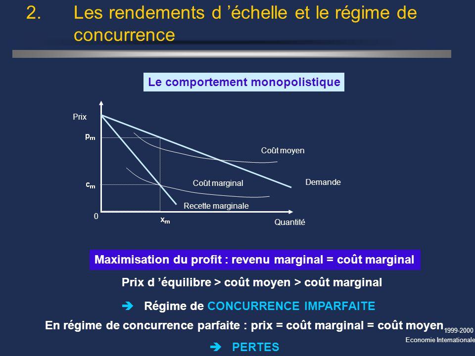 1999-2000 Economie Internationale 2. Les rendements d échelle et le régime de concurrence Maximisation du profit : revenu marginal = coût marginal Le