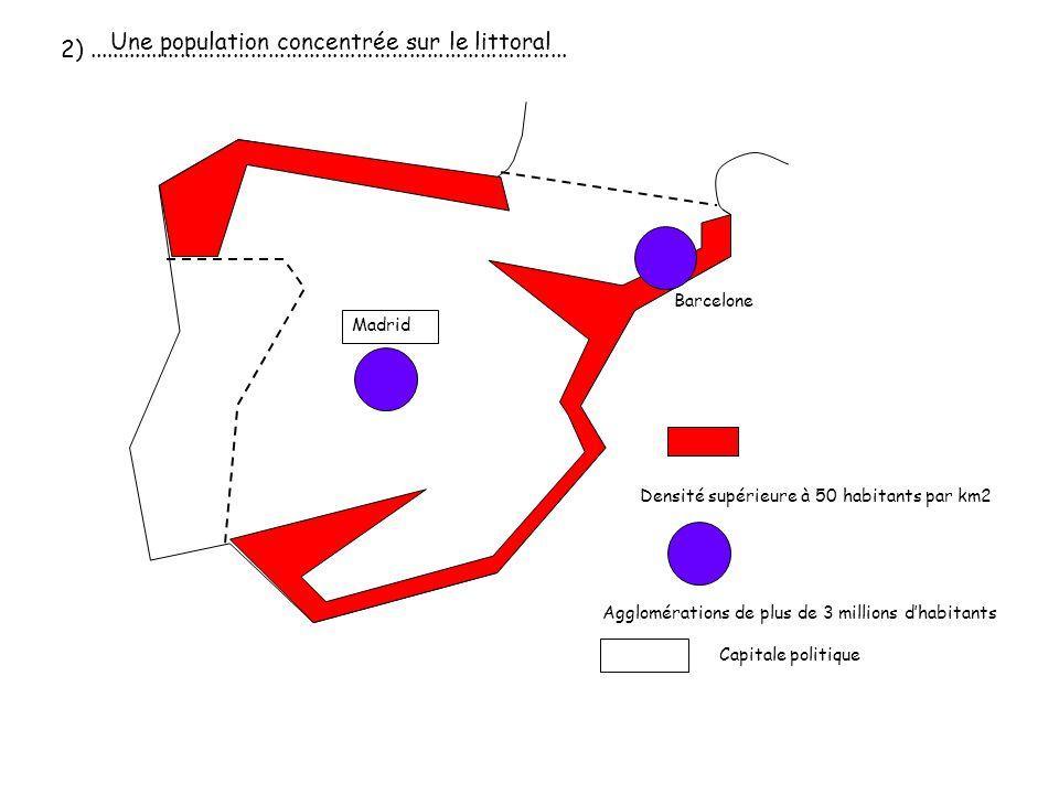 Densité supérieure à 50 habitants par km2 2).................................................................................. Agglomérations de plus