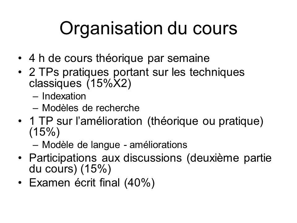 Organisation du cours 4 h de cours théorique par semaine 2 TPs pratiques portant sur les techniques classiques (15%X2) –Indexation –Modèles de recherc