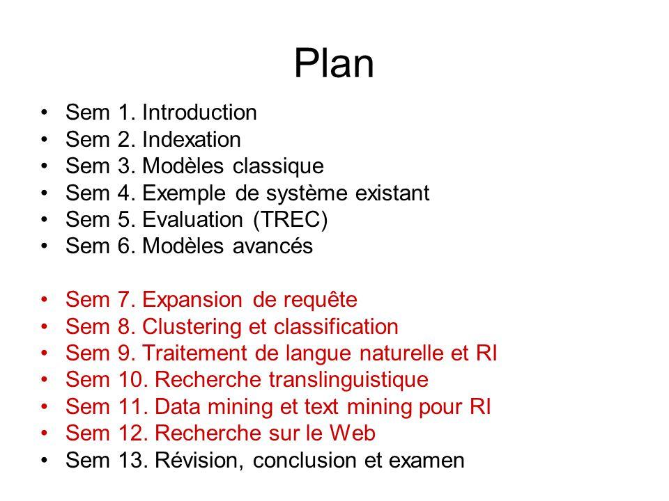 Plan Sem 1. Introduction Sem 2. Indexation Sem 3. Modèles classique Sem 4. Exemple de système existant Sem 5. Evaluation (TREC) Sem 6. Modèles avancés