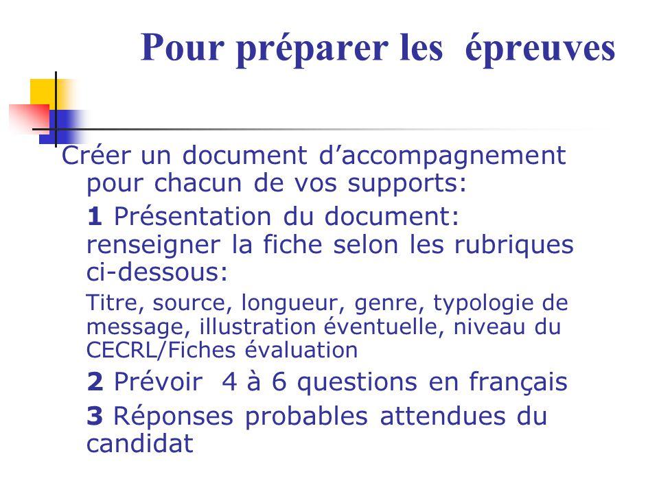 Pour préparer les épreuves Créer un document daccompagnement pour chacun de vos supports: 1 Présentation du document: renseigner la fiche selon les ru