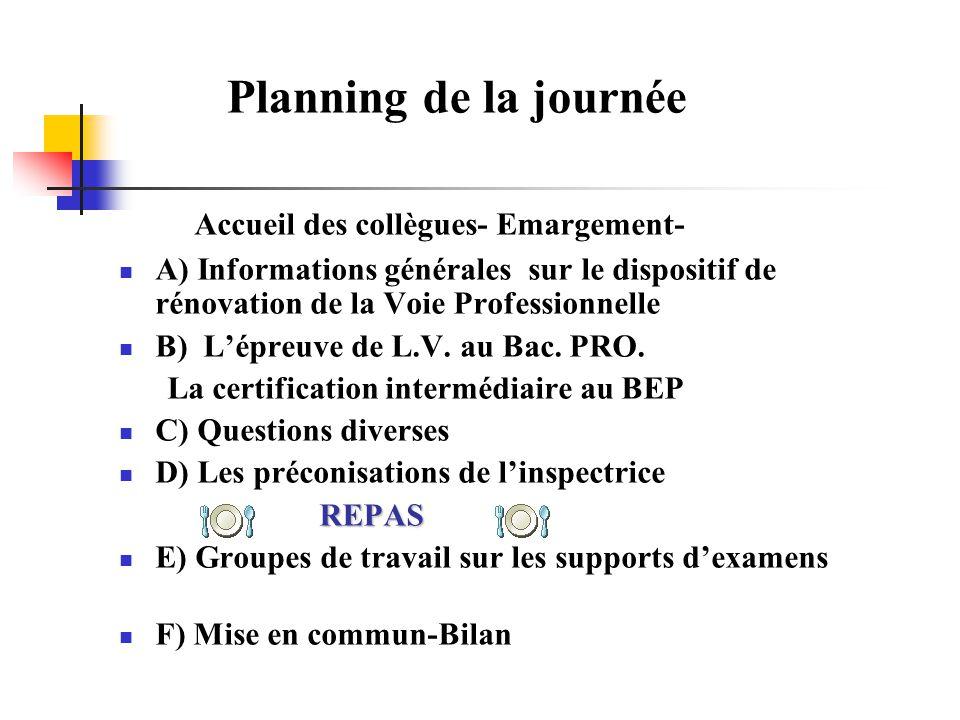 Planning de la journée Accueil des collègues- Emargement- A) Informations générales sur le dispositif de rénovation de la Voie Professionnelle B) Lépr