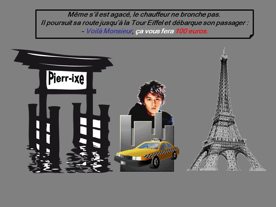 Un peu plus loin sur la route, le touriste Japonais tape à nouveau sur lépaule du chauffeur de taxi et dit : - La… Auto Toyota Corolla, très rapide… Made in Japan !
