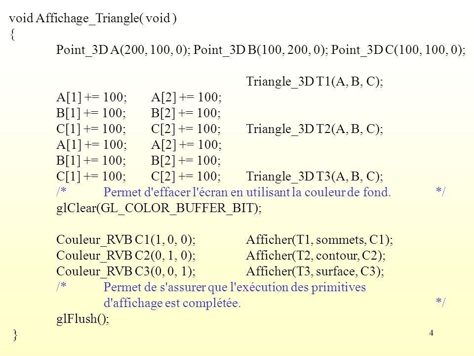 5 void main(int argc, char** argv) { /*Permet d initialiser des paramètres de certains utilitaires d OpenGL.