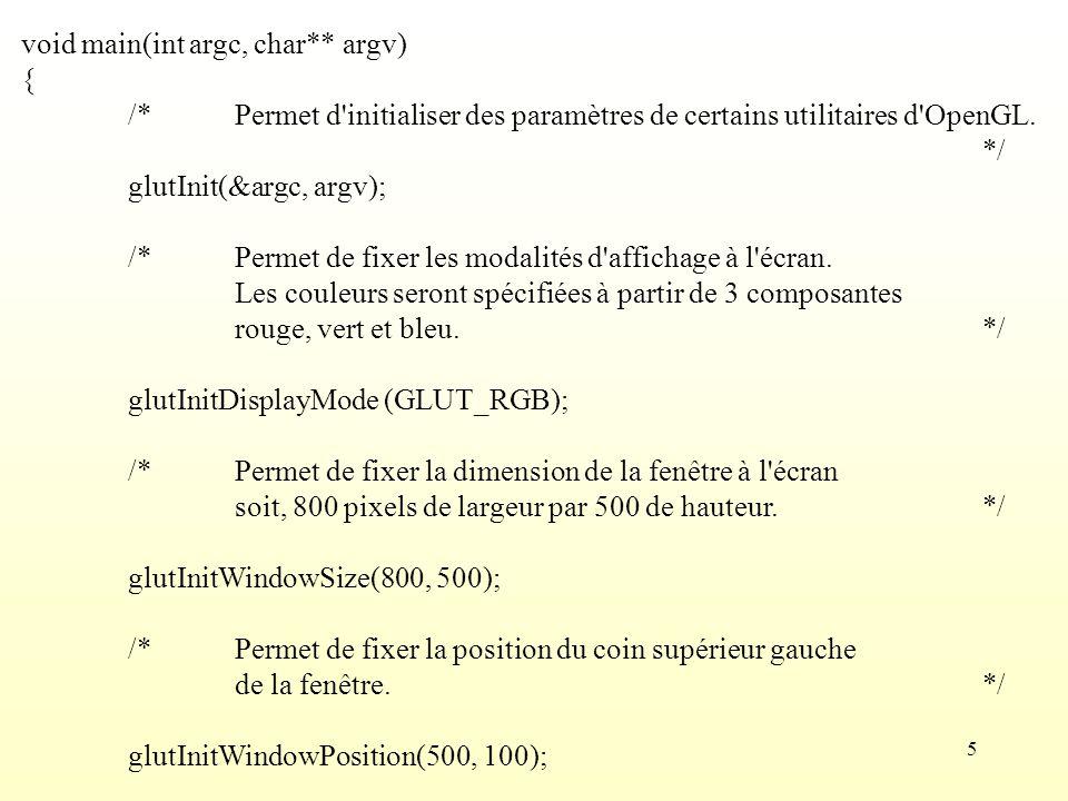 5 void main(int argc, char** argv) { /*Permet d'initialiser des paramètres de certains utilitaires d'OpenGL. */ glutInit(&argc, argv); /*Permet de fix