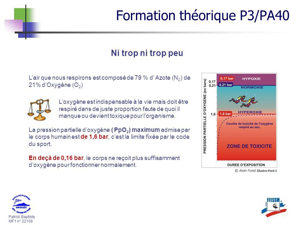 Patrick Baptiste MF1 n° 22108 Ni trop ni trop peu Lair que nous respirons est composé de 79 % d Azote (N 2 ) de 21% dOxygène (O 2 ) Loxygène est indis