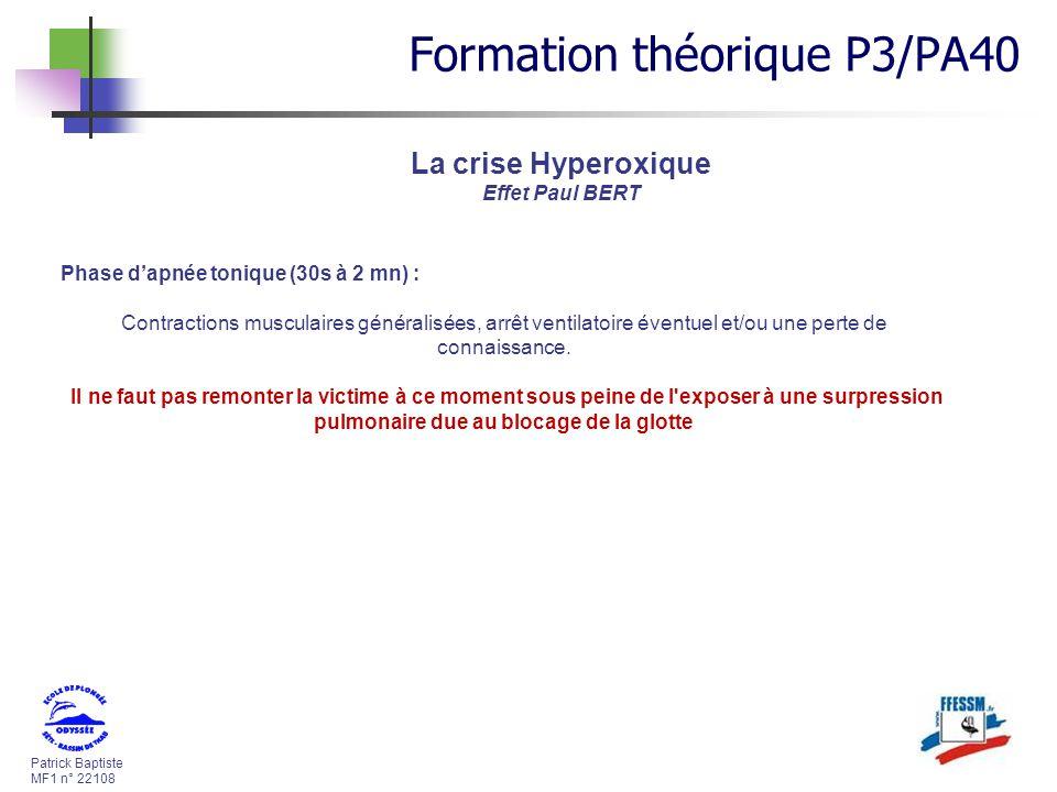 Patrick Baptiste MF1 n° 22108 Phase dapnée tonique (30s à 2 mn) : Contractions musculaires généralisées, arrêt ventilatoire éventuel et/ou une perte d