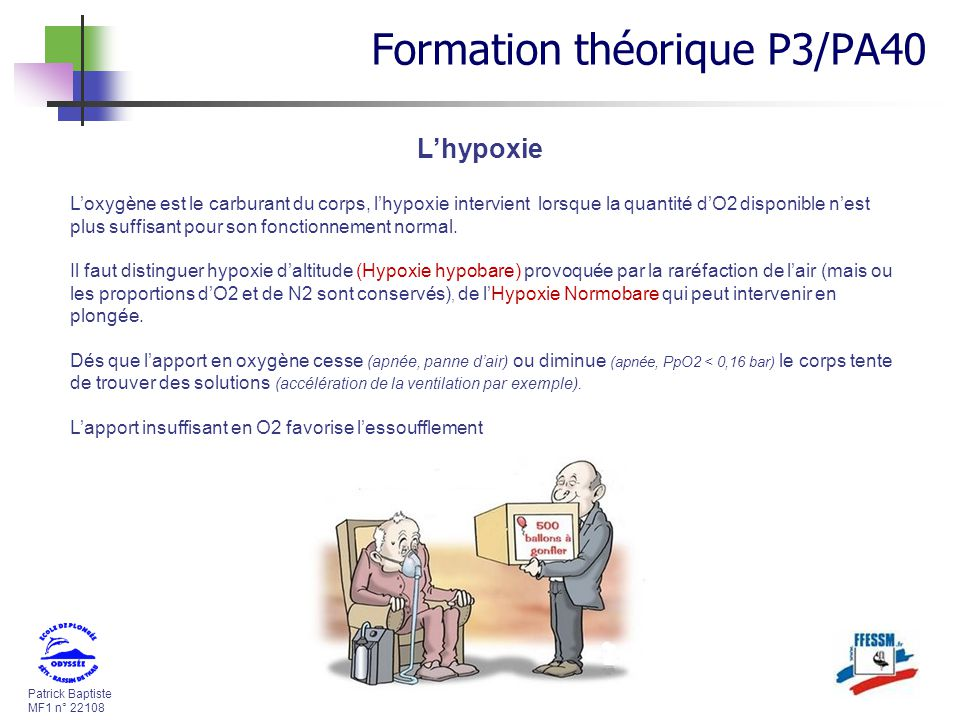 Patrick Baptiste MF1 n° 22108 Lhypoxie Loxygène est le carburant du corps, lhypoxie intervient lorsque la quantité dO2 disponible nest plus suffisant