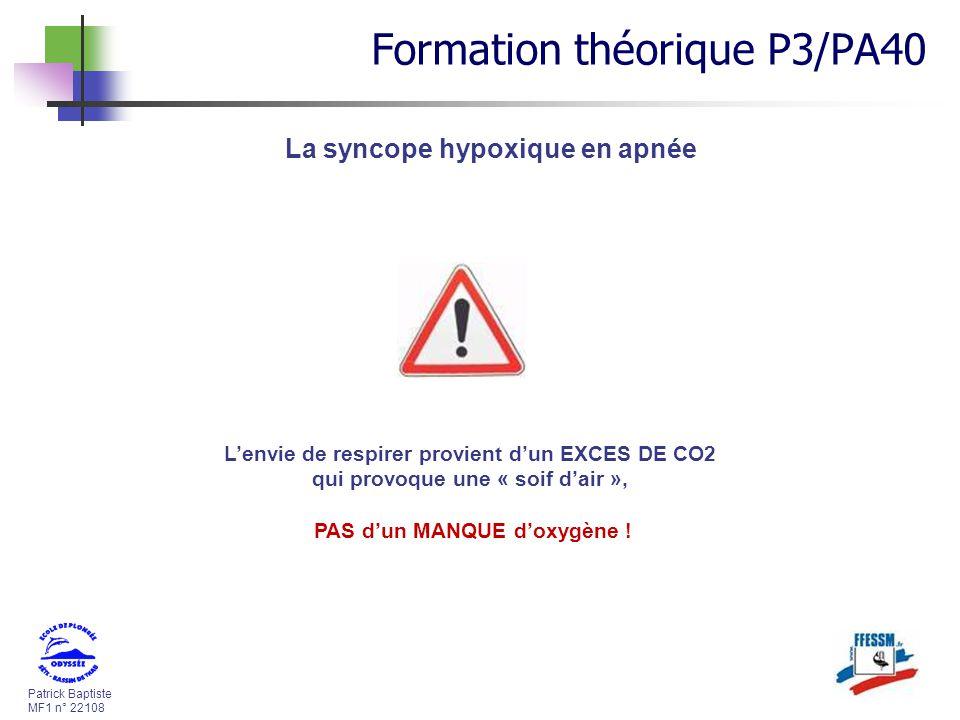 Patrick Baptiste MF1 n° 22108 La syncope hypoxique en apnée Lenvie de respirer provient dun EXCES DE CO2 qui provoque une « soif dair », PAS dun MANQU
