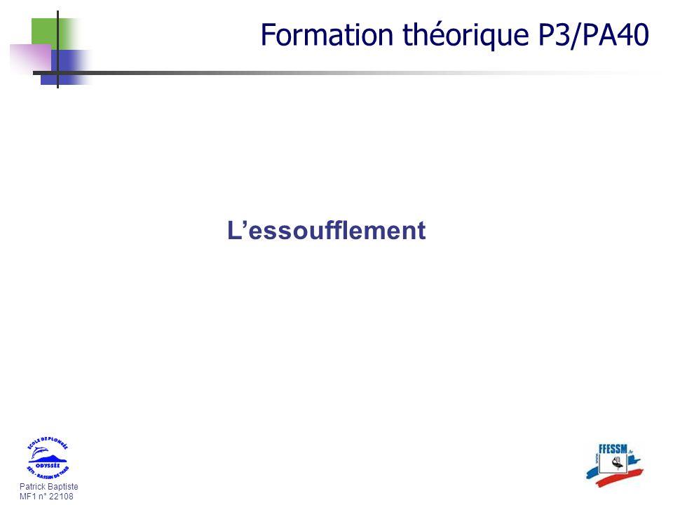 Patrick Baptiste MF1 n° 22108 Lessoufflement Formation théorique P3/PA40