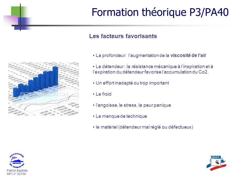 Patrick Baptiste MF1 n° 22108 Les facteurs favorisants La profondeur: laugmentation de la viscosité de lair Le détendeur : la résistance mécanique à l