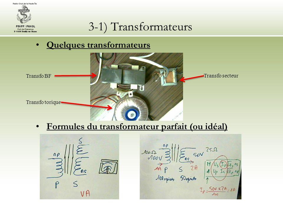 3-1) Transformateurs Quelques transformateurs Formules du transformateur parfait (ou idéal) Transfo secteur Transfo BF Transfo torique